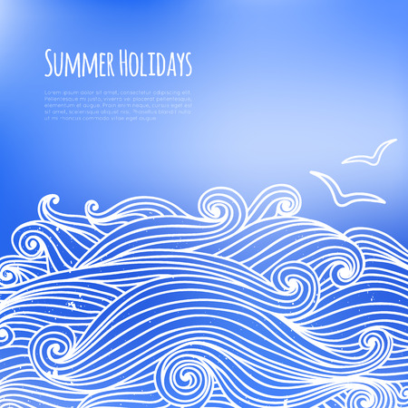Summer background with sea waves and seagulls. Template for presentation, web and mobile interface. Greeting card, invitation with doodle curly waves. Spring, summer poster. Vector illustration. Vector