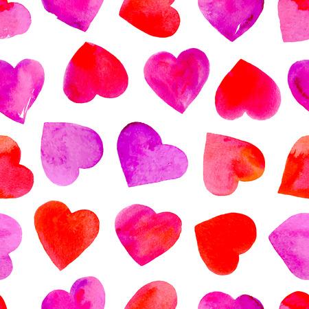 水彩心でシームレスなパターン。バレンタインデーの壁紙。ベクトルの図。  イラスト・ベクター素材