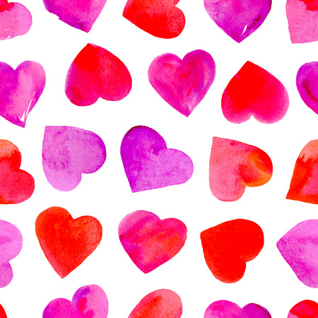 Seamless pattern with watercolor hearts. Valentine Day wallpaper. Vector illustration.