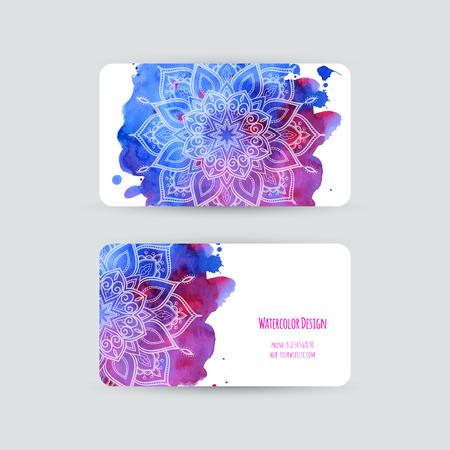 名刺テンプレート。水彩デザイン。抽象的な水彩汚れと花を持つカード。チラシ、招待状。ベクトルの図。
