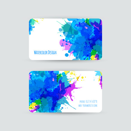 Business cards templates. Watercolor design. Cards with abstract splashes and stains. Invitations, flyers. Vector illustration. Vector