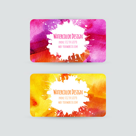 Business cards templates. Watercolor design. Cards with bright abstract watercolor backgrounds and stains. Invitations, flyers. Vector illustration. Vector