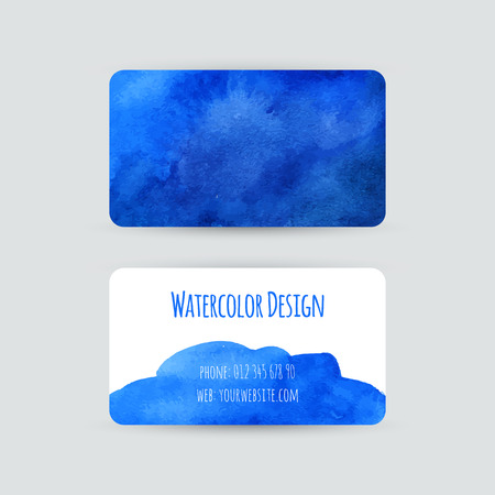 Business cards templates. Watercolor design. Cards with abstract watercolor stains. Blue background. Invitations, flyers. Vector illustration.