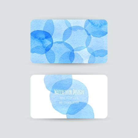 Business cards templates. Watercolor design. Cards with abstract blue watercolor dots. Invitations, flyers. Vector illustration. Vector