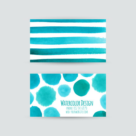 Business cards templates. Watercolor design. Cards with abstract watercolor dots and strips. Invitations, flyers. Vector illustration. Vector