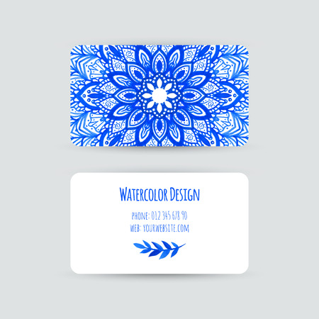 Business cards templates. Watercolor design. Cards with abstract watercolor stains and flowers. Blue flower, mandala. Invitations, flyers. Vector illustration.