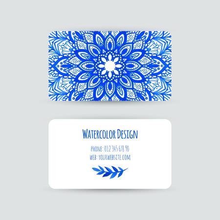 Visitenkarten-Vorlagen. Aquarell Design. Karten mit abstrakten Aquarellflecken und Blumen. Blaue Blume, Mandala. Einladungen, Flyer. Vektor-Illustration.