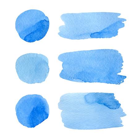 수채화 손으로 집합 점 및 줄무늬. 현실적인 벡터 그래픽입니다. 손으로 그린 수채화 요소를 디자인합니다. 파란색 추상 벡터 점 및 흰색 배경에