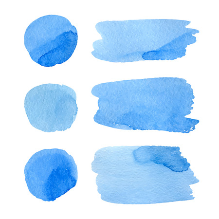 Set of watercolor hand painted dots and stripes. Realistic vector graphics. Hand drawn watercolor elements for design. Blue abstract vector dots and strips on the white background. Иллюстрация