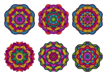 flower tattoo design: Set of mandalas. Beautiful hand drawn flowers. Colorful floral background. Ethnic lace round ornamental pattern. Embroidery, lace, napkins. Vector illustration. Illustration