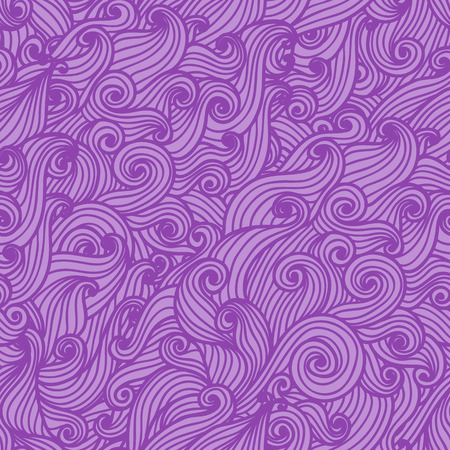 Wavy seamless pattern. Hand drawn curly background. Modern wallpaper. Sea waves. Vector illustration. Vector