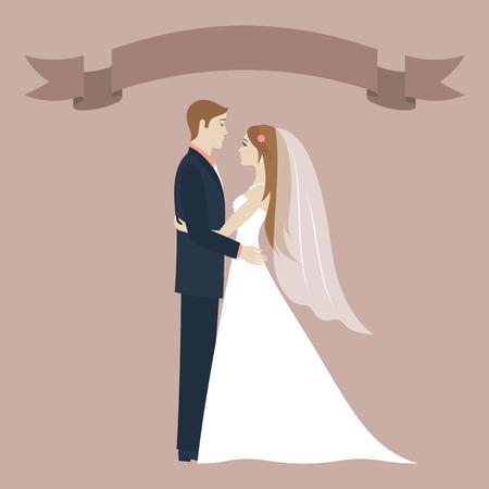 Día de la boda. La novia y el novio mirando el uno al otro y abrazos. Pares de la boda. El fondo de época romántica. Cinta con lugar para el texto. Tarjeta de felicitación. Ilustración del vector.