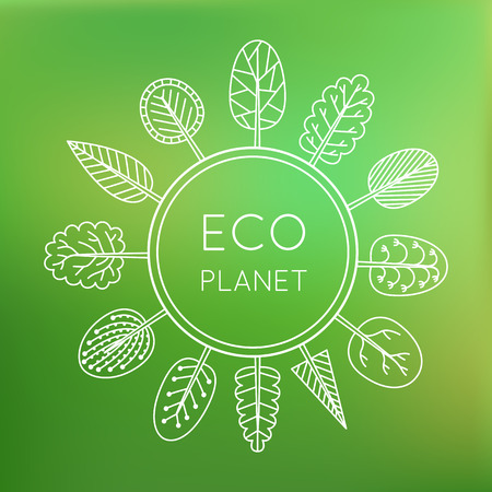 Ecology concept, eco planet. Trees around the globe on green blurred background. Vector illustration. Vector