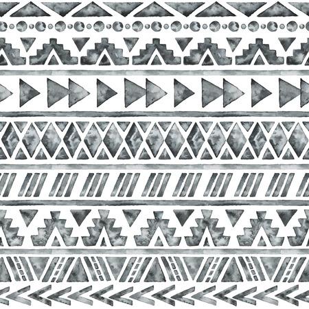 tribales: Acuarela �tnico sin patr�n. Fondo de la manera geom�trica azteca. Dibujado a mano modelo monocrom�tico. Papel tapiz abstracto moderno. Ilustraci�n del vector. Vectores