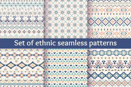 cultura maya: Juego de seis patrones sin fisuras �tnicas. Fondos geom�tricos aztecas. Tejido navajo con estilo. Papel tapiz abstracto moderno. Ilustraci�n del vector.