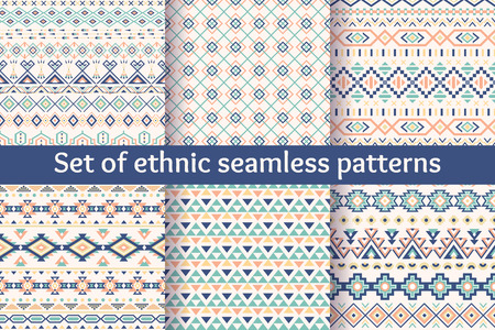 pattern is: Set of six ethnic seamless patterns. Aztec geometric backgrounds. Stylish navajo fabric. Modern abstract wallpaper. Vector illustration.