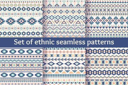 geometricos: Juego de seis patrones sin fisuras étnicas. Fondos geométricos aztecas. Tejido navajo con estilo. Papel tapiz abstracto moderno. Ilustración del vector.
