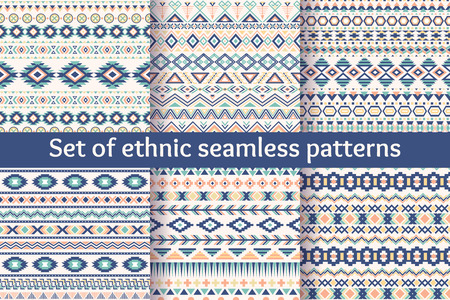 design pattern: Set of six ethnic seamless patterns. Aztec geometric backgrounds. Stylish navajo fabric. Modern abstract wallpaper. Vector illustration.