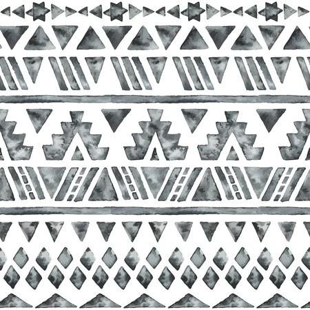 民族の水彩のシームレスなパターン。ファッション アステカの幾何学的な背景。手描き下ろしモノクロ パターン。現代の抽象的な壁紙。ベクトルの