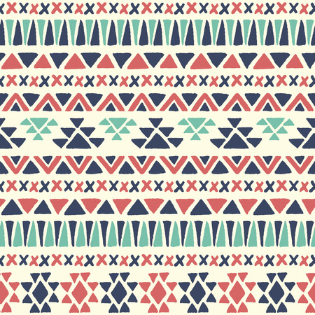 american indian aztec: Ethnic seamless pattern. Aztec geometric background. Hand drawn navajo fabric. Modern abstract wallpaper. Vector illustration.