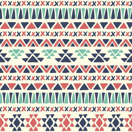 Ethnic seamless pattern. Aztec geometric background. Hand drawn navajo fabric. Modern abstract wallpaper. Vector illustration.