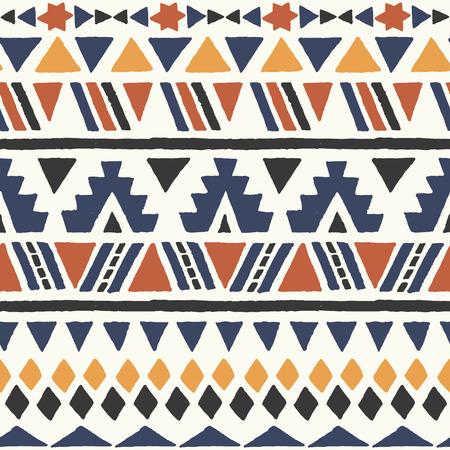 민족 원활한 패턴입니다. 아즈텍 인 기하학적 배경. 손 나바호어 직물을 그려. 현대 추상 벽지. 벡터 일러스트 레이 션.
