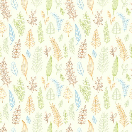 soft colors: Seamless pattern with foliage. Spring, summer fashion background with hand drawn leaves, soft colors. Wrapping, fabric. Vector illustration. Illustration