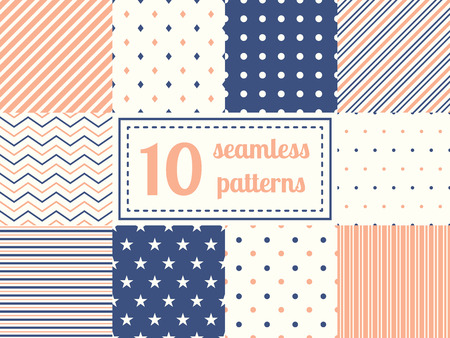 simple geometry: Set of ten seamless patterns in retro soft colors. Classic backgrounds. Vector illustration. Illustration