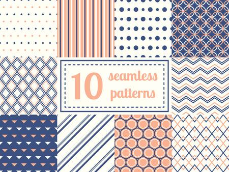 geometria: Conjunto de diez patrones sin fisuras en colores suaves retros. Antecedentes clásicos. Ilustración del vector.