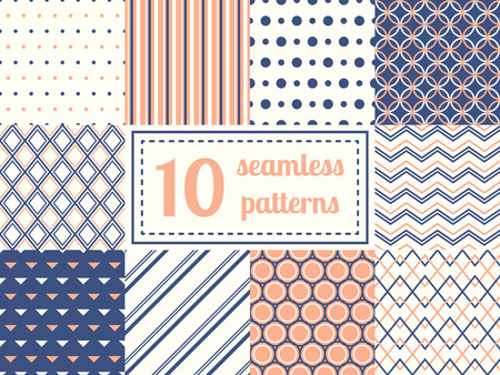 Set of ten seamless patterns in retro soft colors. Classic backgrounds. Vector illustration. Stock Illustratie