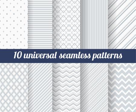 Conjunto de diez patrones sin fisuras sutiles. Texturas monocromáticas Classic. Colores gris. Ilustración del vector.