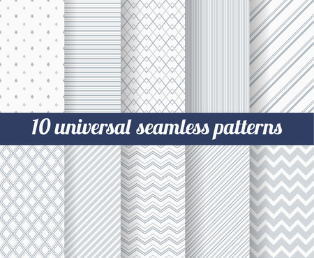endless repeat structure: Set of ten subtle seamless patterns. Classic monochrome textures. Gray colors. Vector illustration.