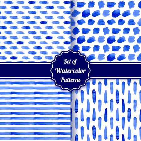 Set of four watercolor simple patterns. Blue monochrome geometric seamless patterns. Fashion backgrounds. Vector illustration.