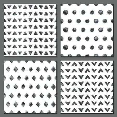 -ドット、菱形、三角形 4 つの水彩画の単純なパターンのセットです。白黒の幾何学的なシームレス パターンのタイル。ファッションの背景。ベクト
