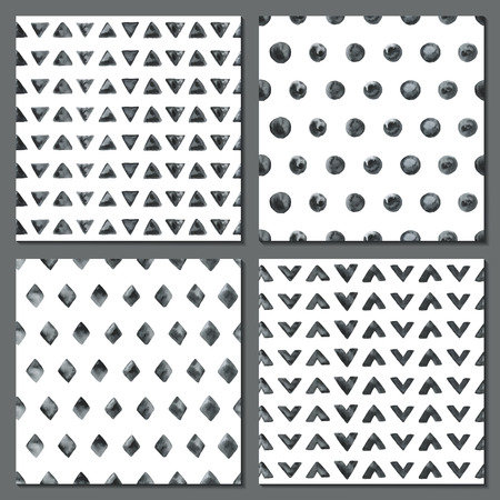 Set of four watercolor simple patterns - dots, rhombus, triangles. Tiles of monochrome geometric seamless patterns. Fashion backgrounds. Vector illustration.
