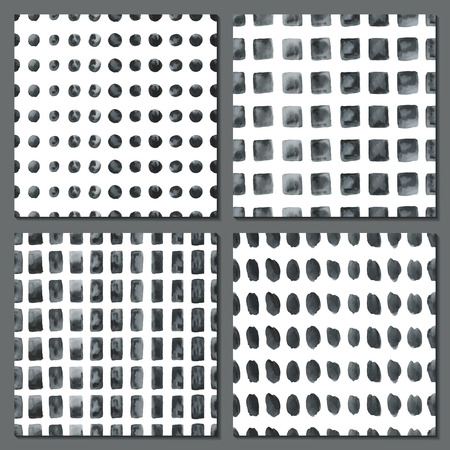 modern wallpaper: Set of four watercolor simple patterns - dots, stripes, squares. Tiles of monochrome geometric seamless patterns. Fashion backgrounds. Vector illustration. Illustration