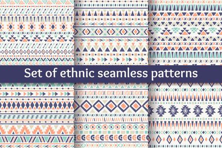 patterns vector: Set of six ethnic seamless patterns. Aztec geometric backgrounds. Stylish navajo design. Modern handmade abstract wallpaper. Vector illustration. Illustration