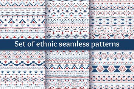Set von sechs Stammes nahtlose Muster. Geometrische Hintergrund in blauen und roten Farben. Stilvolle nazi-Design. Moderne Hand abstrakte Karten gezogen. Vektor-Illustration.