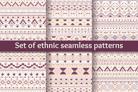 abstract wallpaper: Set of six ethnic seamless patterns. Aztec geometric backgrounds. Sketch style. Stylish navajo fabric. Modern abstract wallpaper. Vector illustration.