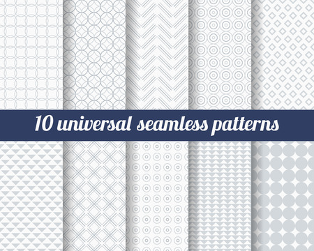 Set of ten subtle seamless patterns. Classic monochrome textures. Gray colors. Vector illustration.