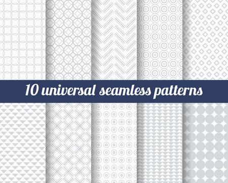 diamante: Conjunto de diez patrones sin fisuras sutiles. Texturas monocromáticas Classic. Colores gris. Ilustración del vector.