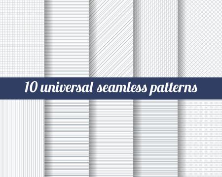 lineas verticales: Conjunto de diez patrones sin fisuras sutiles. Texturas monocromáticas Classic. Colores gris. Ilustración del vector.