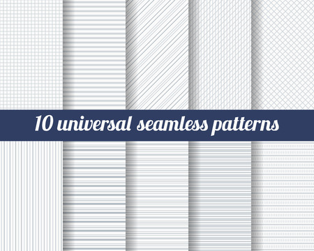 diagonal lines: Set of ten subtle seamless patterns. Classic monochrome textures. Gray colors. Vector illustration.