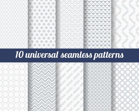 Ensemble de dix modèles sans couture subtiles. Textures monochromes classiques. Couleurs grises. Vector illustration. Vecteurs