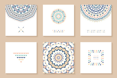 Set of six cards with ethnic design. Stylish tribal geometric backgrounds. Templates for invitations, postcards with aztec ornaments. Vector illustration. Stock Illustratie