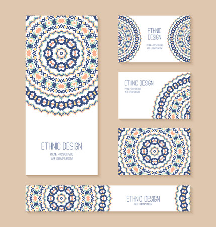 vector backgrounds: Set of business card, banner, invitation card templates with ethnic design. Stylish tribal geometric backgrounds. Aztec ornament. Vector illustration. Illustration