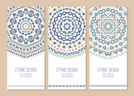 fashion design: Set of ethnic banners. Stylish tribal geometric backgrounds. Templates for design with aztec ornaments. Vector illustration.