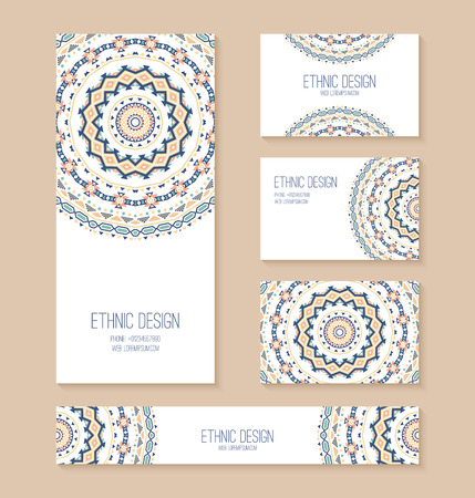 Set of business card, banner, invitation card templates with ethnic design. Stylish tribal geometric backgrounds. Aztec ornament. Vector illustration. Ilustracja