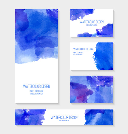 Set of business card, banner, invitation card templates with watercolor design. Cards with abstract watercolor stains. Blue background. Vector illustration.