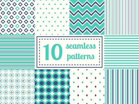 Set of ten seamless patterns in retro soft colors. Classic backgrounds. Vector illustration. Zdjęcie Seryjne - 44774411
